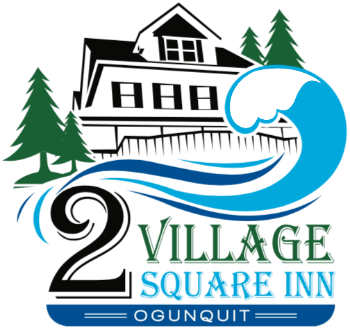 Illustration of house with ocean wave and pine trees - 2 Village Square Inn