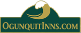 gold and green wooden sign with ocean wave - Ogunquit Inns