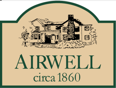 Illustration of antique wooden sign forest green border tan background - Airwell Bed and Breakfast