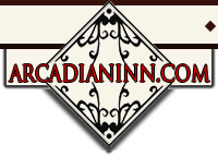 Illustration of diamond shape plaque with artistic vining accents a rectangle banner overlaying with the words - ARCADIANINN.COM