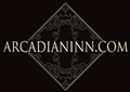 Illustratered deco style logo with vine accents and the words - ARCADIANINN.COM