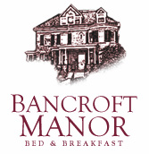 logo illustration of front of property with the text - BANCROFT MANOR bed and breakfast