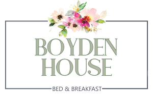 Logo Photo Realistic Illustration of bouquet of flowers underneath the words - Boyden House