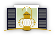 Logo - Illustration of Brass Lantern in front of white window with black shutters
