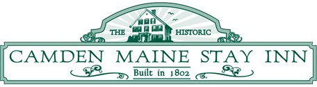 Green and White logo illustration of property with text - Camden Maine Stay