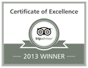 TripAdvisor Certificate of Excellence 2013 - Centerboard Inn