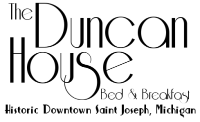 Logo (art deco font) - The Duncan House Bed and Breakfast Historic Downtown Saint Joseph Michigan