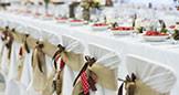 White linen table for weddings