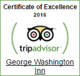 George Washington Inn - Trip Advisor Certificate of Excellence Winner 2016