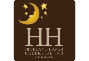 Company Logo with Golden Moon and Stars - HH - Highland Haven Creekside Inn