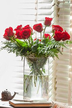 Clear vase with bright red roses in front of a venetian blind.