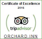 Orchard Inn TripAdvisor Certificate of Excellence