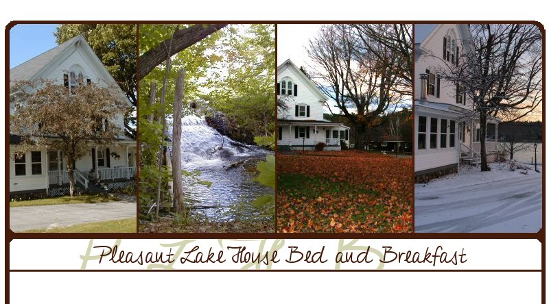 A Collage of 4 exterior photos of The Pleasant Lake House and its surrounding area - Pleasant Lake House Bed and Breakfast