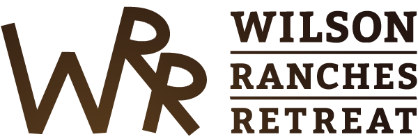 Illustration Logo - The words WWR Wilson Ranches Retreat in a brown gradiant